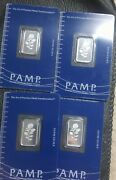 Lot Of Four In Succession 5 Gram Platinum Pamp Suisse Rose Bar Only 1000 Minted