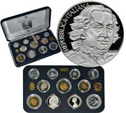 Italy 1993 Proof Set Original Mint Packaging W/2 Silver Coins Carolo Galdoni