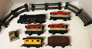 Vtg Marx Model Train Wind Up Engine Railroad Parts And Pieces Lot Track Cars