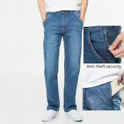 Menand039s Denim Jeans Trouser Anti Theft Zipper Pocket Loose Clothing Large Size New