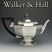 1918 British Antiques Made Of Sterling Silver Large Teapot 731g Walker Hall