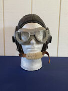 Wwii Ww2 Pilots Leather Helmet Size Medium Slote And Klein W An-6530 Flying Goggle