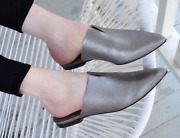 H By Hudson Silver Leather Sliders Flats Slippers Amelie Mules Pumps Shoes Uk 5
