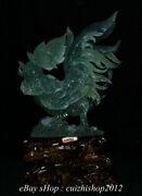 19 Chinese Natural Xiu Jade Carving Feng Shui Lifelike Cock Rooster Statue