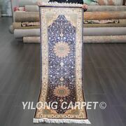 Yilong 2and039x6and039 Long Hand Knotted Silk Lobby Home Carpet Blue Strip Rug Runner 572a