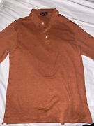 Lands End Henley Sweater Adult Small Red Cable Knit Menand039s Long Sleeve