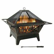 Sunnydaze Northern Galaxy Heavy-duty Fire Pit - 32 Inch Steel Large Square Wood