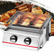 Outdoor Portable Stainless Steel Bbq Tabletop Burner 2 Gas Grill Party Camping