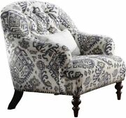 Acme Saira Chair With 1 Pillow In Pattern Fabric Finish 52062