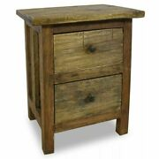 Solid Reclaimed Wood Nightstand W/ 2 Drawers Bedside Table Cabinet Nightstands