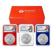2021 W 1 Type 2 American Silver Eagle 3pc Set Ngc Ms70 Trump Label Red White