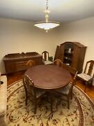 Antique Dining Room Set 6 Chairs Round Table Buffet And China Cabinet