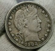 1902s Barber Quarter 25 Cents. Semi-key Date, Nice Coin, Free Shipping 352