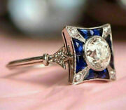Antique Vintage Retro Engagement Ring 2ct Diamond And Sapphire 14k White Gold Over