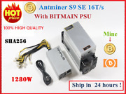 Bitcoin Antminer S9 Se 16th/s With Bitmain Psu Btc Bch Miner Better Than Antmine