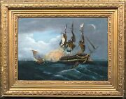 Large 19th Century American Us Navy Ship Battle Cannon Fire Marine Painting