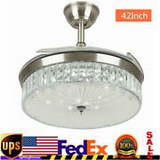 42 Ceiling Fan Light Led Crystal Retractable Blades Chandelier W/remote Usa
