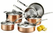 Lagostina Martellata Hammered Copper 18/10 Tri-ply Stainless Steel Cookware Set,
