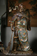 27 Old Chinese Cloisonne Enamel Bronze Stand Guan Gong Yu Warrior God Statue