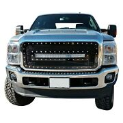 For Ford F-250 Super Duty 11-16 Main Grille 1-pc Charcoal Metallic Mesh Main