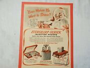Vintage 1949 Eversharp-schick Injector Razors Paper Ad Twin-jector Santa Clause