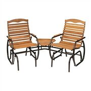 Modern Farm Home 3 Piece Glider Chairs Set With Side Table, Bench-style Glider