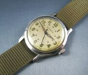 Vintage Longines Wittnauer Military Style Stainless Steel Mens Watch 15j 1940s