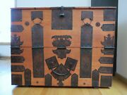 19th Century Korean Wedding Chest W/ Forged Iron And Dovetailing
