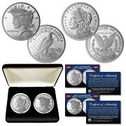 100th Anniversary Morgan And Peace Dollar 1 Oz. Silver Nickel 2-coin Set With Box