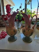 Vintage Hull Art Pottery Magnolia Ewer 13.5 High Two Matching Vases