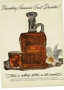 1952 Old Forester Bourbon Decanter And Glass On Silver Platter Vintage Ad