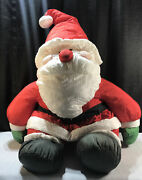 Santa Claus Made In Korea Nylon Puffy Stuffed 38 Inches Extra Large Vintage Rare