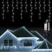 Jmexsuss 38.8ft 400 Led Icicle Lights 8 Modes Waterproof Christmas Icicle