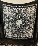 Antique Chinese Hand Embroidery Pure Silk Piano Shawl 165 X 165 Fringe 50 Cm