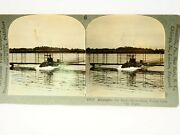 An Early Hydroplane Rising From The Water Keystone Stereoview Card Rare