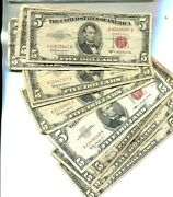 1953 1963 5 Red Blue Seal Currency Note Lot Of 12 Circulated 3927p