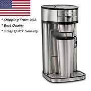 Hamilton Beach 14 Oz Single Serve Stainless Steel Coffee Maker With Easy Scoop