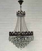 Antique Vintage Brass And Crystals Large French Chandelier Lighting Ceiling Lamp