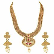18k Gold Plated Traditional South Indian Long Bridal Copper Jewellery Set A999