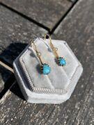 Antique Yellow Gold Matrix Turquoise And Pearl Earrings