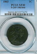 1803 Draped Bust Large Cent Pcgs Xf40 S-249 100/000