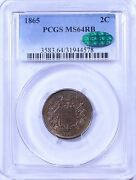 1865 Two Cent Piece Pcgs Ms64rb Cac Sticker
