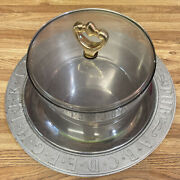 Pewter Pub Serving Dish With Kromex Platter And Topper
