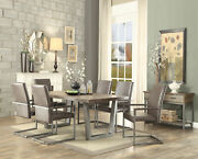 Acme Lazarus Dining Table In Weathered Oak And Antique Silver Finish 73110
