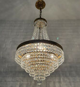 Antique Vintage Brass And Crystals Beautiful French Chandelier Lighting Lamp Light