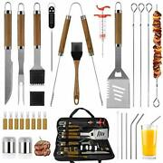 30 Pcs Bbq Grill Tools Set Wooden Handle Stainless Steel Grilling Accessories
