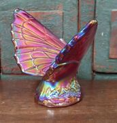 Fenton 1990's Ruby Red Or Amythyst Satin Carnival Glass Butterfly Figurine