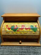 Vintage Roll Top Wooden Bread Box W/ Rooster Chickens Wood Country Kitchen Large