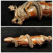 Wood Carving Home Arts Craft Wooden Decor Dragon Statue Carved Gifts Sculptures