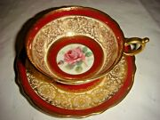 Vintage Paragon Double Warrant Cabbage Roses Heavy Gold Red Tea Cup/saucer A515
